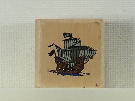 Unbranded - Pirate Ship Wood Mounted Rubber Stamp