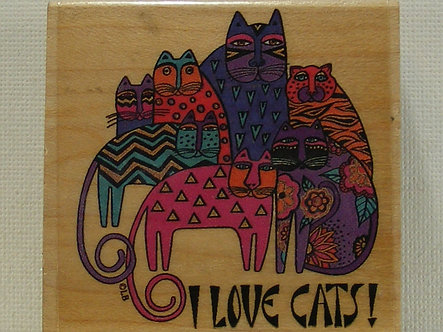 All Night Media - I Love Cats! Wood Mounted Rubber Stamp