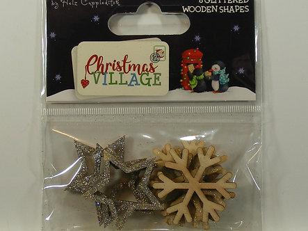 Helz Cuppleditch - Christmas Village - Glittered Wooden Shapes