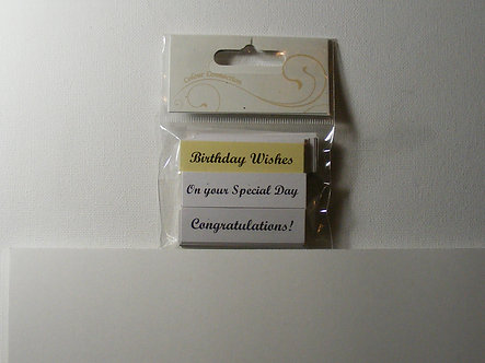 Craftime - Just Words Sentiment Toppers (Cream/White).