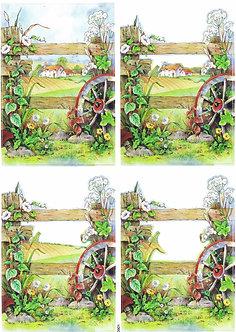 Countryside Decoupage - Wagon Wheel Decoupage Sheet