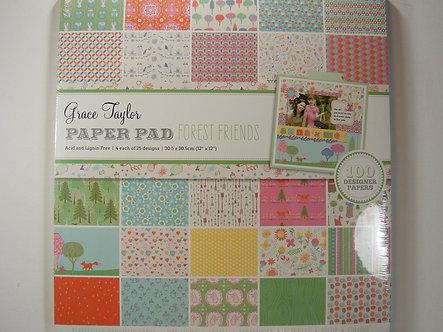 """Grace Taylor - Forest Friends 12"""" x 12"""" Paper Pad."""