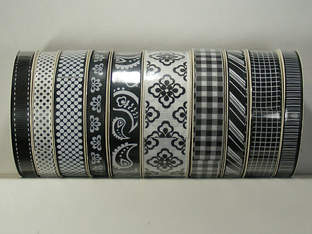 Create & Craft - Black & White Pretty Print Ribbon