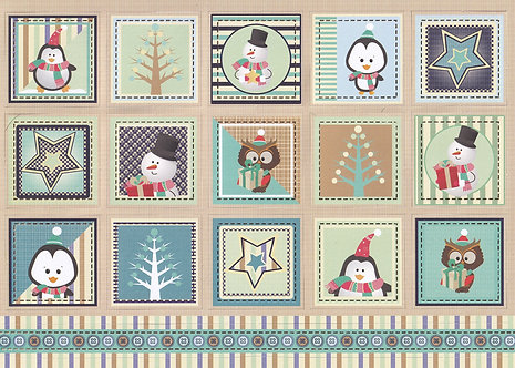 Kanban - Cute Christmas Festive Squares (Blue) Toppers