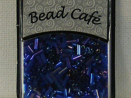 Bead Cafe - Royal Blue 6mm Glass Bugle Beads.