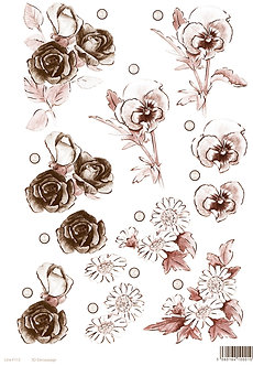 Craft Uk - 3D Floral Die-Cut Decoupage - Rose, Pansy, Daisy