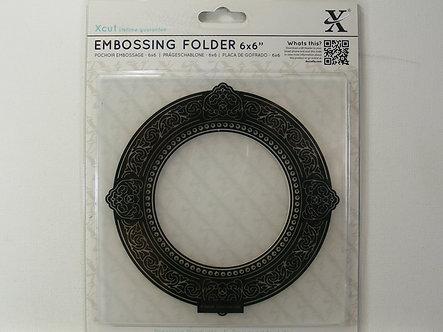 """Xcut - Round Gilt Frame 6"""" x 6"""" Embossing Folder."""