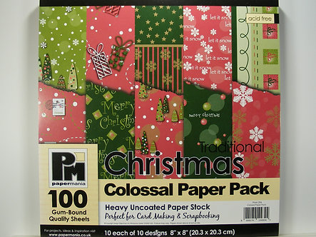 """Papermania - Traditional Christmas Colossal 8"""" x 8"""" Paper Pack"""