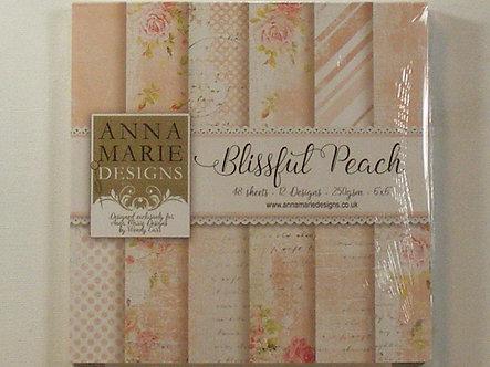 """Anna Marie Designs - Blissful Peach 6"""" x 6"""" Paper Pad."""