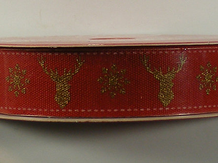 North Pole - 2mtr Cotton Christmas Ribbon - Stag