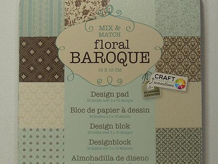 """Craft Sensations - Floral Baroque 6"""" x 6"""" Paper Pad."""