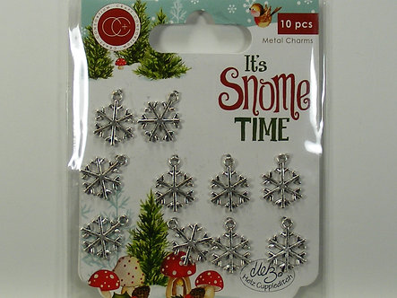 It's Snome Time - Snowflakes Metal Charms