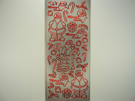 Docrafts - Christmas Peel Offs Santa (Red & Silver)