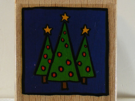 Docrafts - Whisper Trio Christmas Trees Wood Mounted Rubber Stamp