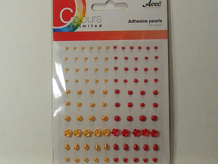 Avec - Colours Unlimited Adhesive Pearls - Peach & Red.
