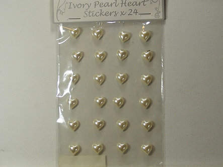 Apac - Ivory Pearl Heart Stickers x 24.
