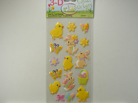 3-D Easter Stickers - Easter Bunnies & Chicks.