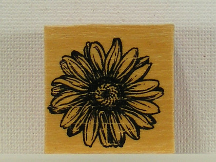 Unbranded - Flower Wood & Foam Mounted Rubber Stamp