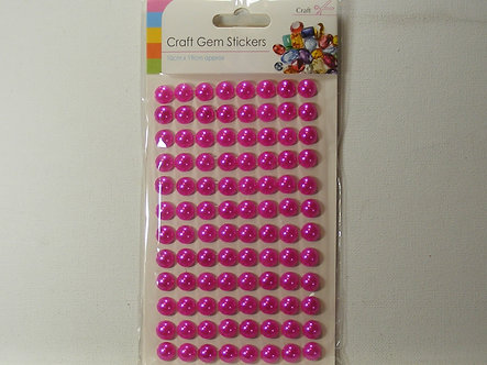 Sifcon - Craft Gem Stickers 10mm Cerise Flat Back Pearls