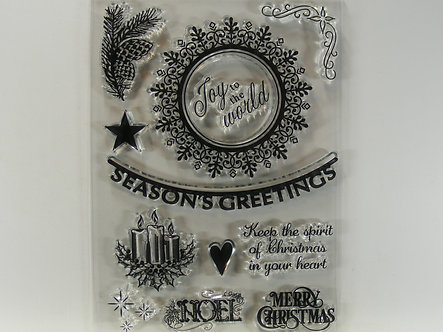 Christmas Clear Acrylic Cling Stamps - Seasons Greetings