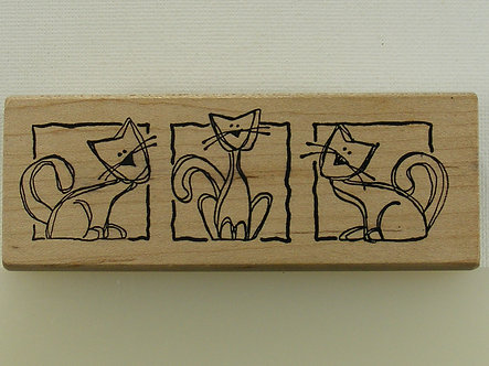 Magenta - Cat Trio Wood Mounted Rubber Stamp