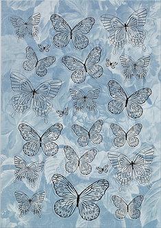 Kanban - Gold & Pale Blue Foiled Butterflies