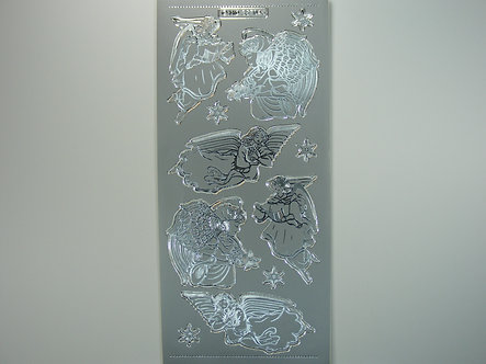 MD - Christmas Peel Offs - Angels (Silver)