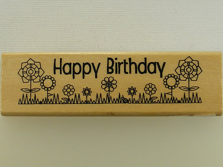 Anita's - Happy Birthday Wood Mounted Rubber Stamp