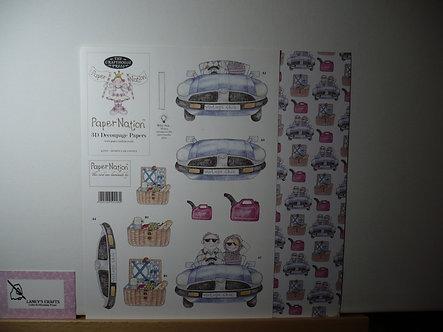 Paper Nation - Sports Car Couple 3D Decoupage.