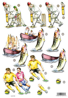 Craft UK - Decoupage Trio Cricket, Fishing, Football