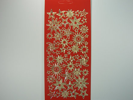 Christmas Peel Offs - Gold Stars (Red)