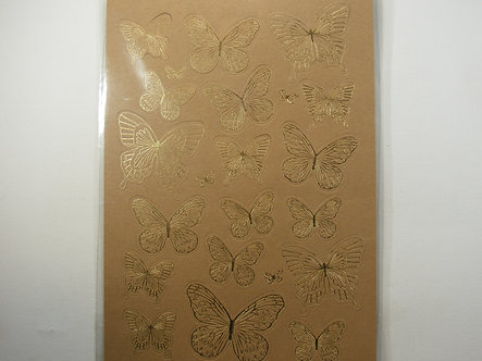 Kanban - Gold & Brown Foiled Butterflies