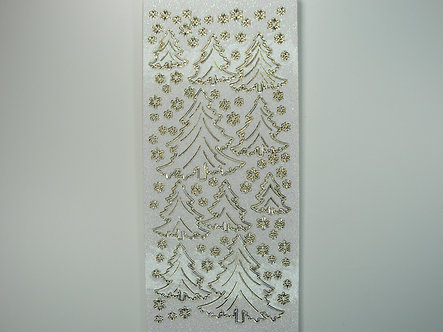 Christmas Peel Offs - Christmas Trees & Stars (Gold On Clear)