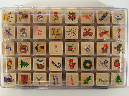 40 Christmas Wood Mounted Rubber Stamps