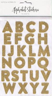 TJM Ltd - Notes & Scribbles - Gold Glitter Alphabet Stickers