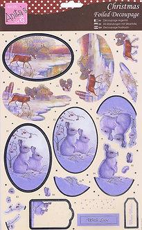 Anita's - Christmas Foiled Decoupage - Snow Rabbits.