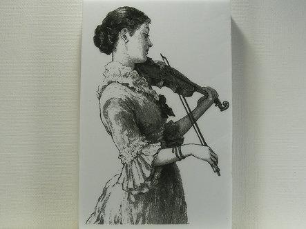 La Blanche - Lady Violinist Foam Mounted Rubber Stamp