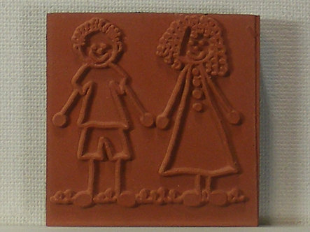 Unbranded - Boy And Girl Foam Mounted Rubber Stamp