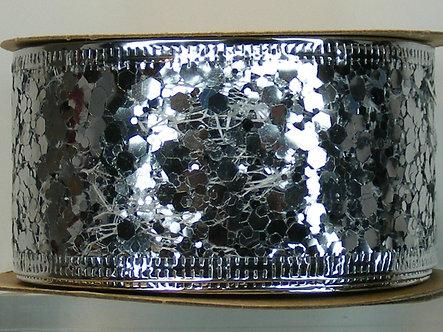HFA Christmas Ribbon - Silver Glitter Flakes