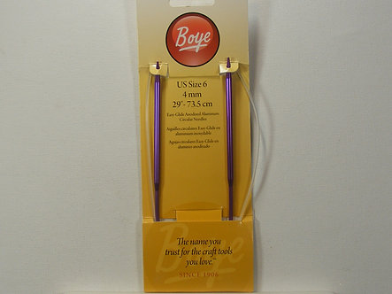 "Boye Circular Aluminum Knitting Needles 29""-Size 6/4mm."