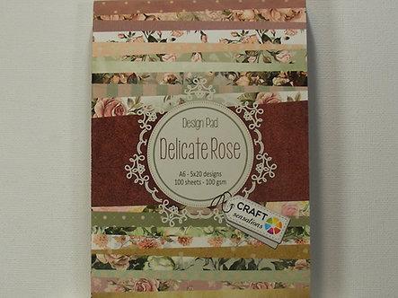 Craft Sensations - Delicate Rose A6 Design Pad.