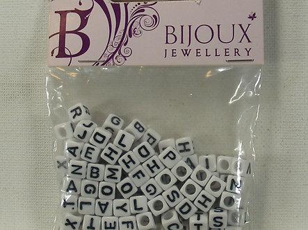 Hobbycraft - Bijou Jewellery - 6mm White Alphabet Beads (100pc)