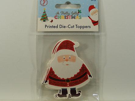 Hobbycraft - Holly Jolly Christmas Santa Glitter Die-Cut Toppers .