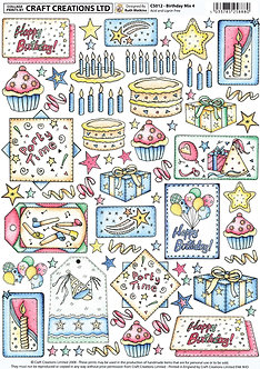 Craft Creations - Birthday Mix 4 Topper Sheet