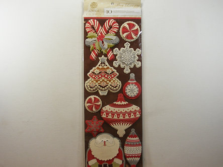 Anna Griffin - Flora Christmas 3 Dimensional Stickers