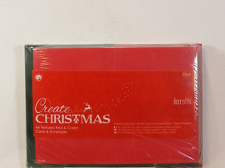 Docrafts - Create Christmas - Red & Green Cards & Envelopes.