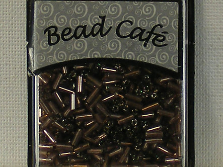 Bead Cafe - Light Brown Glass Bugle Beads 6mm