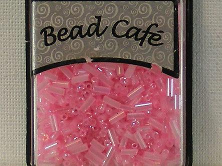 Bead Cafe - Pink 6mm Glass Bugle Beads.