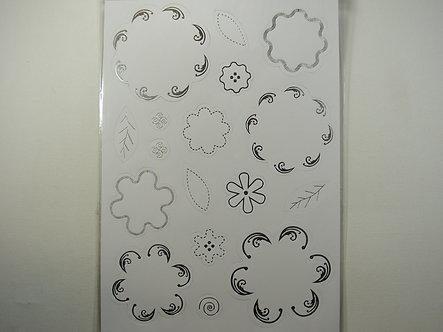 Kanban - Silver Foiled Flowers Topper Sheet