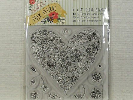 Docrafts - Folk Floral Heart Clear Stamps